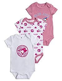 MLB Toronto Blue Jays 3 Pack Body Suits Girls 12 Months