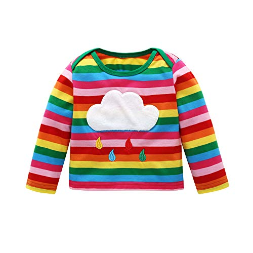 Infant Chucky Costume (Baby Boy Rainbow Shirt Baby Girl Striped Long Sleeve Sweater Clothes (Rainbow, 90/12-18)
