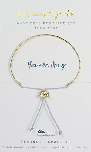 Lucky Feather - Lucky Feather Reminder 14k gold dipped adjustable Wire Cuff Mantra Bracelet (You are strong) with gold tone elephant bead charm.
