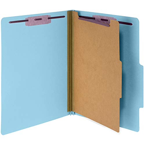 (10 Blue Classification Folders- 1 Divider-2'' Tyvek expansions- Durable 2 Prongs Designed to Organize Standard Medical Files, Law Client Files, Office Reports– Letter Size, Blue, 10 Pack)