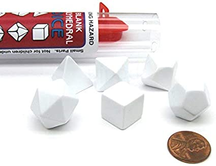 Blank White Koplow Games Polyhedral RPG 6-Dice Set ~14 to 19mm Tall