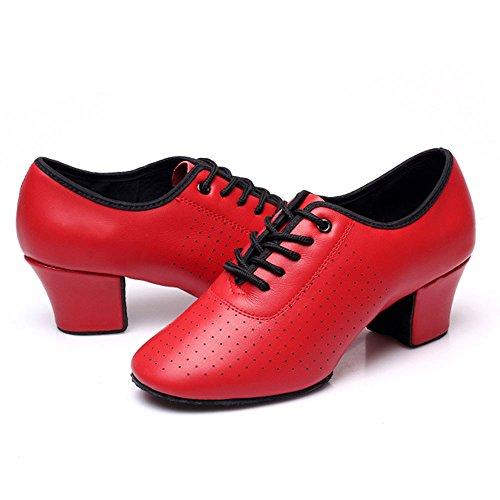Cdso Scarpe Da Ballo Moderne Da Donna Tomaia In Pelle E Fondo Morbido In Camoscio Rosso