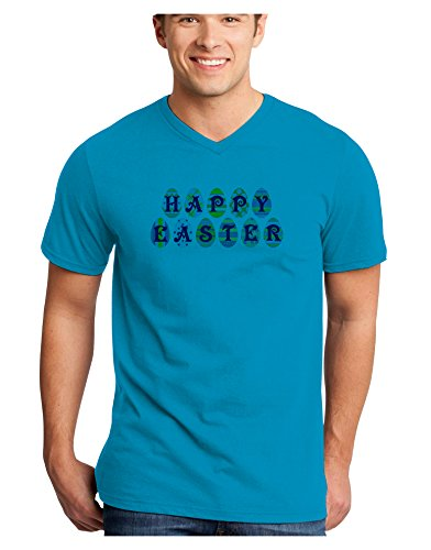 TooLoud Easter Eggs Happy Easter Adult V-Neck T-Shirt - Turquoise - 4XL (The Little Grunt And The Big Egg)