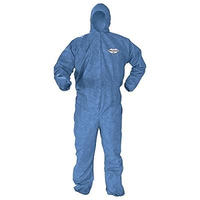 Kleenguard Chemical Resistant Suit, A60 Bloodborne Pathogen & Chemical Splash Protection Coveralls (45022), Hood, Medium, Blue, 24 Garments / Case