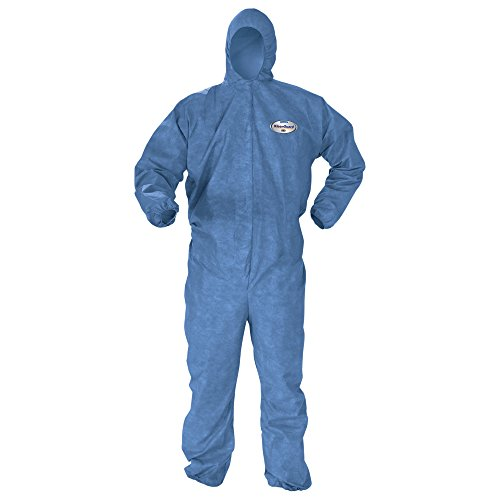 Kleenguard Chemical Resistant Suit, A60 Bloodborne Pathogen & Chemical Splash Protection Coveralls (45022), Hood, Medium, Blue, 24 Garments/Case