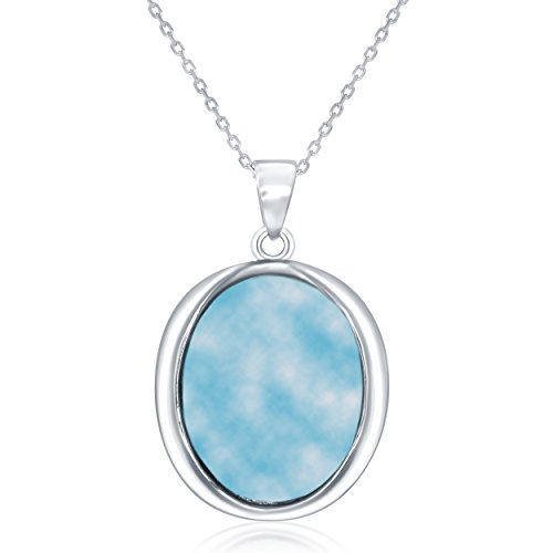 (Sterling Silver Oval Natural Larimar Pendant with 18