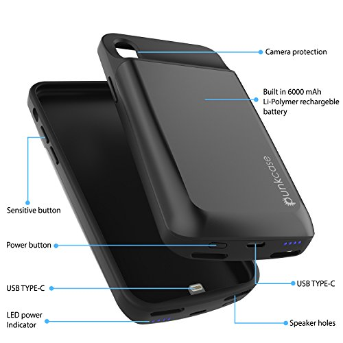 iPhone X Battery Case, PunkJuice 6000mAH Fast Charging Power Bank W/ Screen Protector | Integrated USB & Lightning Port | Slim, Secure and Reliable | Designed for Apple iPhone 10 [Black] by punkcase (Image #1)