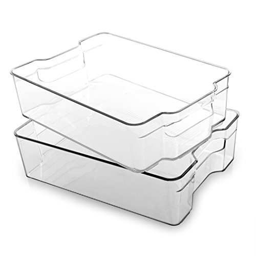 (BINO Stackable Rectangular Plastic Storage Organizer Bin, Large - 2 Pack - Clear and Transparent Nesting Container for Home and)