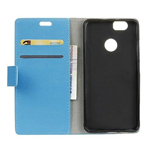 SKKMA Huawei NOVA Case, Kas Patrón de textura de cuero sintético PU caso de cuero Horizontal Flip Stand Case Cartera de la cubierta de la caja de color sólido caso para Huawei NOVA ( Color : Pink ) Blue