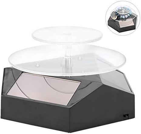 Vitrine Solaire 360 Degr/éS Pr/éSentoir avec Plaque Tournante De Lumi/èRe LED pour Montre T/éL/éPhone Bague De Bijoux Blanc