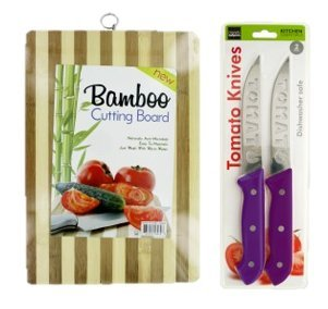 Striped Bamboo Cutting Board and Stainless Steel Tomato Knife Bundle Set Bamboo Striped Cutting Board