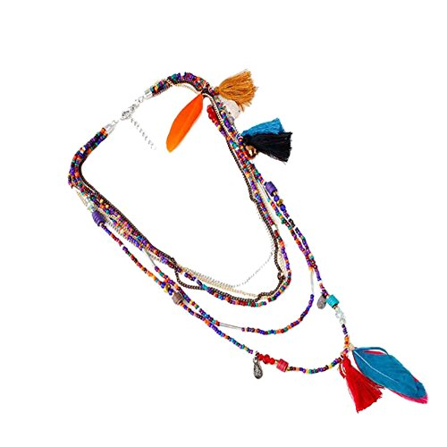 SYGZQ Layered Necklace for Women Feather Tassel Turquoise Boho Necklace Multi-color