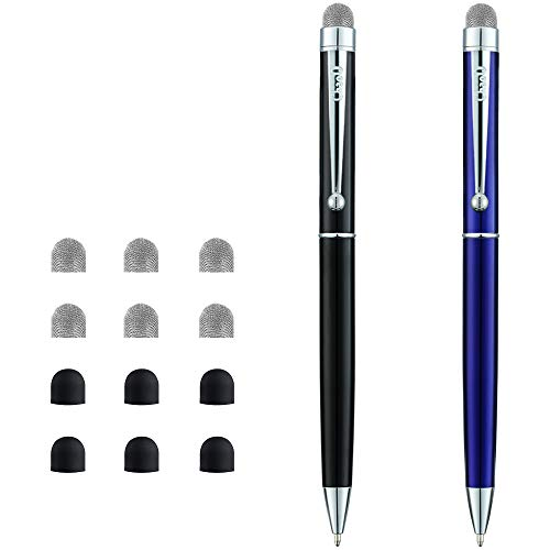 CHAOQ Stylus Pen for iPad, iPhone, Tablets Touch Screen, 2-Pack 2 in 1 Ball Pens and Hybrid Mesh Fiber Stylus Pens with 6 Extras Replacement Mesh Fiber Tips and 6 Rubber Tips - Black/Blue