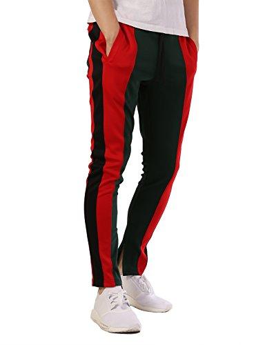 JD Apparel Men's Contrast Tri Blend Track Pants Joggers S Green Red Black TR524 by JD Apparel