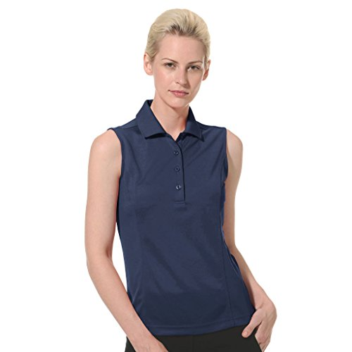 - Monterey Club Ladies Dry Swing Solid Lightweight Pique Sleeveless Polo #2064 (Navy, Large)