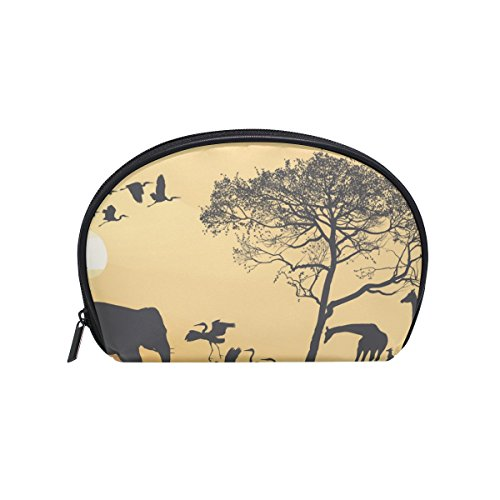 Savana Bag - Dragon Sword Savana Giraffes Herons And Elephant Cosmetic Bag Travel Handy Organizer Pouch Makeup Bags Purse for Women Girls