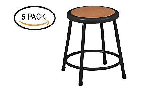 Learniture Heavy Duty Metal Lab Stool with Hardboard Top, Black (Pack of 5)  ()
