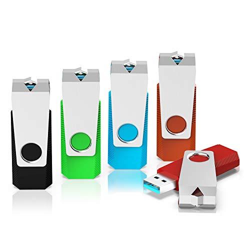 (USB Flash Drive, KEXIN 5 Pack 64G USB 3.0 Flash Drives 64 GB Thumb Drive Memory Stick Data Storage Jump Drive Zip Drive Pen Drives 5 Color(Black Green Red Blue Orange) )