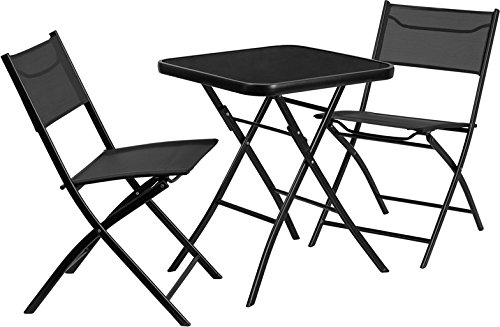 Skovde 3-pcs Table Set Square 23.75'' Tempered Glass w/2 Fabric Folding Chairs by iHome Studio