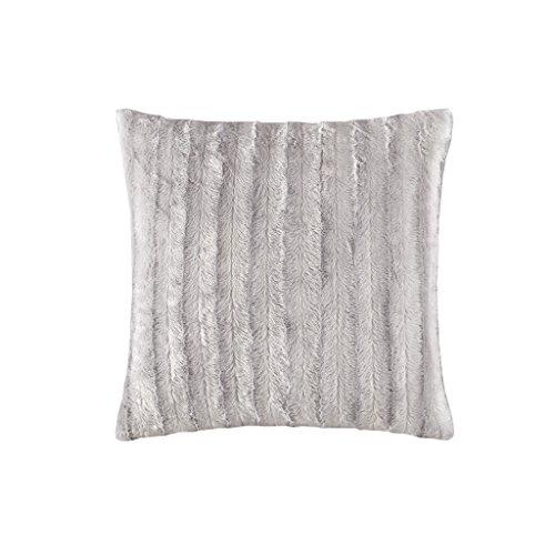 Duke Faux Fur Square Pillow Grey 20x20