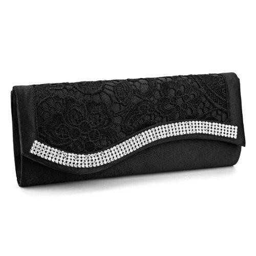 Satin Black Clutch Bag Evening Crystal Wedding Floral Lace Handbag Purse Diamante BSxwv