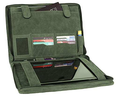 Padfolio Green (Supreme Business Portfolio By Rustic Town | Professional Organizer Gift for Men & Women | Durable Leather Padfolio | Easy To Carry With A Zippered Closure | Many Slots, Compartments & Holders (Green))