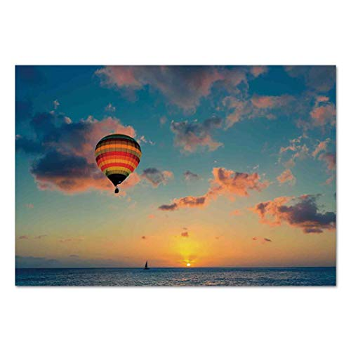 Large Wall Mural Sticker [ Sunset,Hot Air Balloon on Skyline with Horizon at Sea Background Relax Adventure Scenery,Blue Yellow ] Self-adhesive Vinyl Wallpaper / Removable Modern Decorating Wall Art