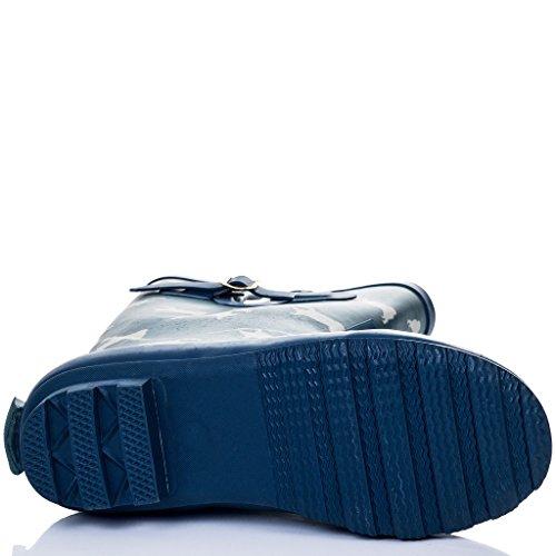 SPYLOVEBUY IGLOO Mujer Hebilla Planos Botas de Agua Azul Pug