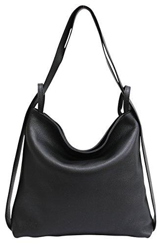 Bolsos de mano de cuero para mujer 2-en-1 con bolsos mochila bolsos de hombro GL019 Negro
