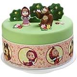 Ruban décor coutour DE GATEAU disque pour gateau thème disney masha et michka pour décoration de gâteau anniversaire - diamètre 28cm hauteur 6.6 cm