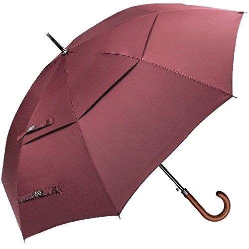 G4Free Wooden J Handle Classic Golf Umbrella Windproof Auto Open 52 inch Large Oversized Double Canopy Vented Rainproof Cane Stick Umbrellas for Men Women (Wine Red)