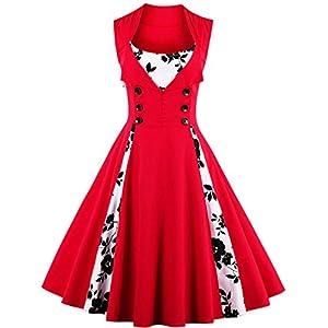VERNASSA Women's Vintage 1950s Rockabilly Polka Dots Audrey Dress Retro Cocktail Dress