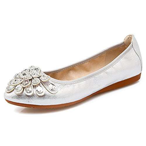 Meeshine Womens Foldable Soft Pointed Toe Ballet Flats Rhinestone Comfort Slip on Flat Shoes(9.5 B(M) US,Silver 01) -