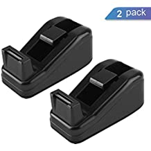 KTRIO Mini Desktop Tape Dispenser for 1/2 or 3/4 inch Scotch Magic Tape, Sparco Invisible Tape with 1'' Core, Non-Slip Tape Holder 4.1x1.7x1.7 Inch 2 Pack Black