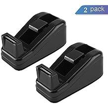 """Ktrio Mini Desktop Tape Dispenser for 1/2 or 3/4 inch Magic Tape Invisible Tape with 1"""" Core, Non-Slip Tape Holder Tape Desk Dispenser Tape Dispensers 4.1x1.7x1.7 Inch 2 Pack Black"""