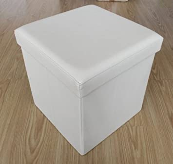 Faux Leather Storage Pouffe Foldable Seat Box Chest Stool 1 Seater White
