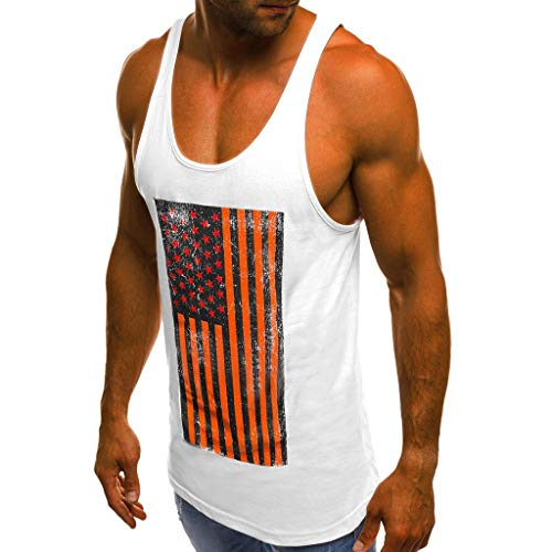 (Pongfunsy Men's Summer Vest Mens Striped American Flag Printed Tank Top Casual Summer Sleeveless Loose Tees Shirts (XXL, White))