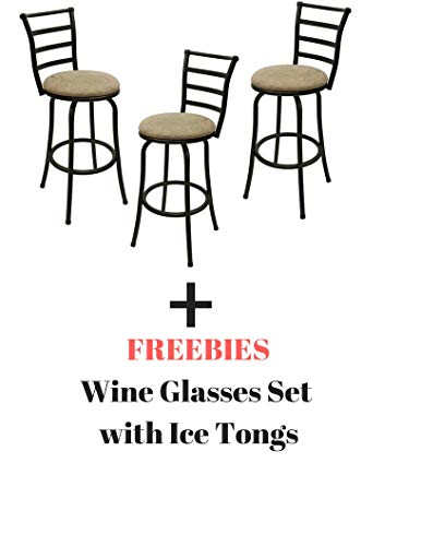 Mainstay- Adjustable-Height Swivel Barstool, Set of 3 Black Freebies, 29