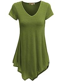 Doublju Womens Short Sleeve V-Neck Tunic Top With...