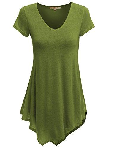 Doublju V-Neck Handkerchief Hem Long Tunic Shirt Top (Plus size available) GREEN 2XL