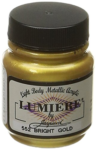 Jacquard Lumiere Metallic Acrylic Paint 2.25 Ounces-Bright (Acrylic Gold Jars)