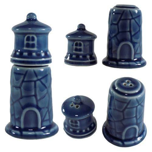 Blue Lighthouse Salt and Papper Ceramic Spice Shaker Set