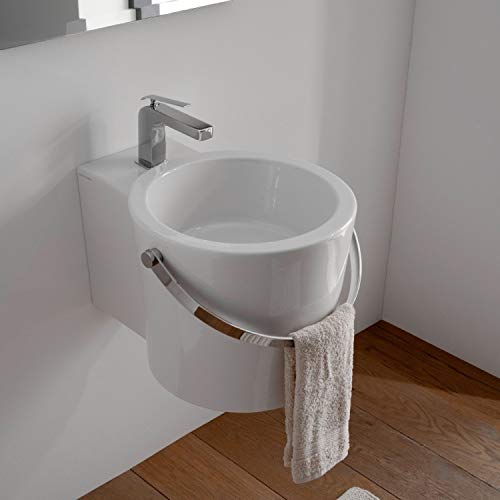 Scarabeo 8802-One Hole-637509887940 Ceramic Washbasin Vessel, White