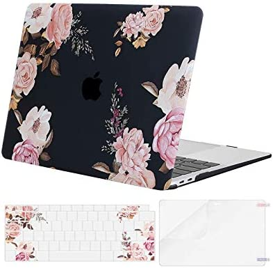 MOSISO MacBook Air 13 inch Case 2020 2019 2018 Release A2179 A1932 Retina Display, Plastic Pattern Hard Shell & Keyboard Cover & Screen Protector Only Compatible with MacBook Air 13, Peony Blossom
