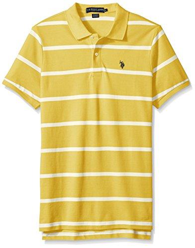 U.S. Polo Assn. Mens Classic Fit Stripe Short Sleeve Pique Polo Shirt