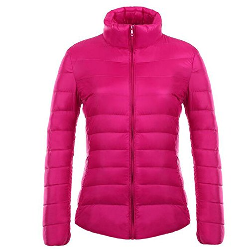 Down Cappotto Puffer Bozevon Rose Weight Winter Jacket Packable Women's Light Ultra fUqwEx1