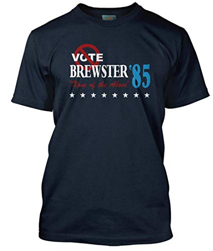 BathroomWall BREWSTERS Millions Inspired Vote None of The Above, Men's T-Shirt, Large, Navy Blue