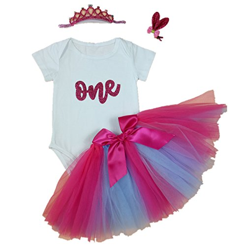 AISHIONY 4PCs Baby Girls' 1st Birthday Rose Tutu Onesie Skirt Dress Outfit XL -