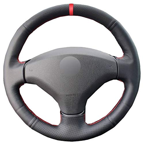 OPOPDLSA Hand Sewing Car Steering Wheel Cover Red Marker For Old Peugeot 408 Peugeot 308 Steering-Wheel Automobile Accessorie: