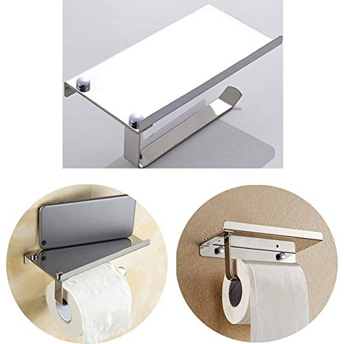 SAQIMA Tissue Frame Toilet Roll Multi-Function Tissues Holder Stand Stainless Steel Paper Storage Dispensers Wall Hook Mounted Bathroom